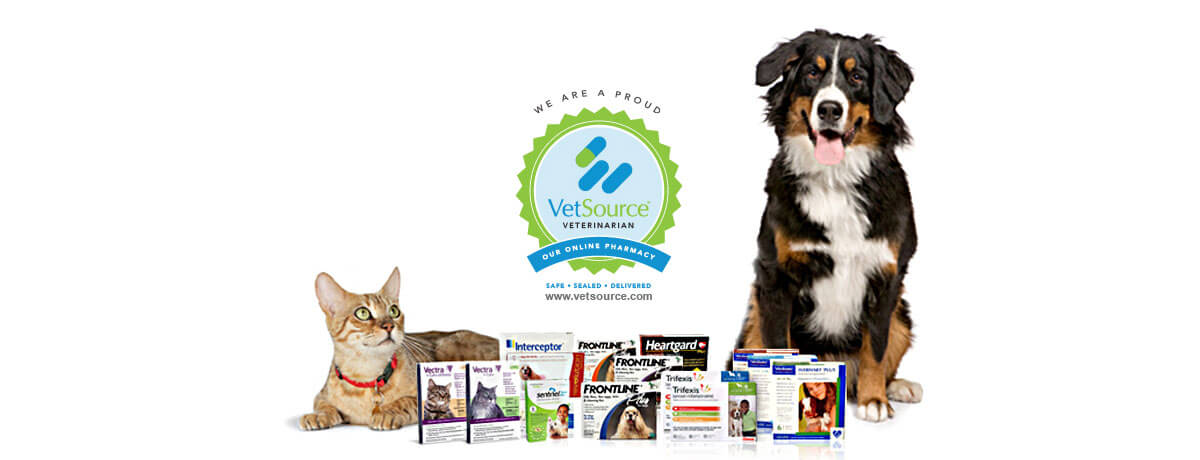 Image of a dog, cat, and VetSource logo
