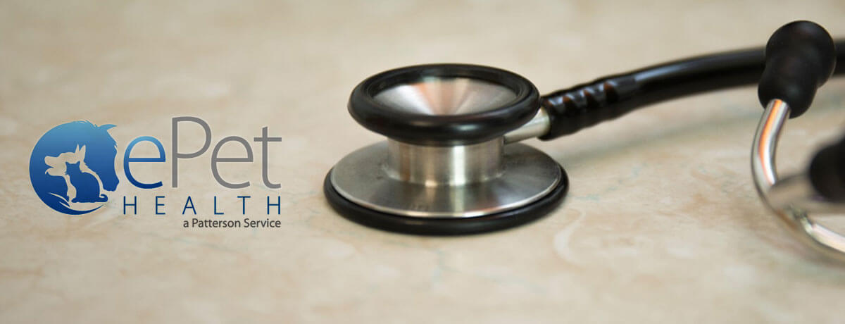 Image of a stethoscope and the ePet Health logo
